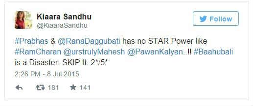 Kiaara Sandhu twitted about Bahuballi-1