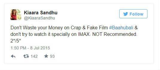 Kiaara Sandhu twitted about Bahuballi